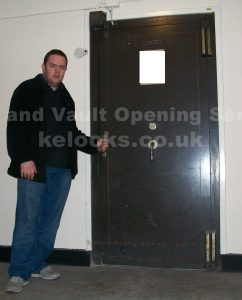 Jason Jones of Key Elements opening Chatwood strongroom door