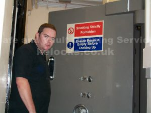 Jason Jones of Key Elements opening a Chatwood vault in Essex