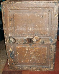 Old iron safe opened by Jason Jones of Key Elements