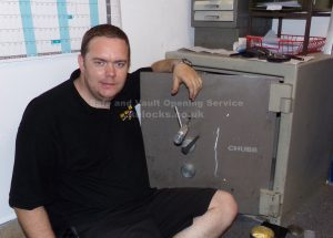 Jason Jones of Key Elements cracking a Chubb Commerce safe